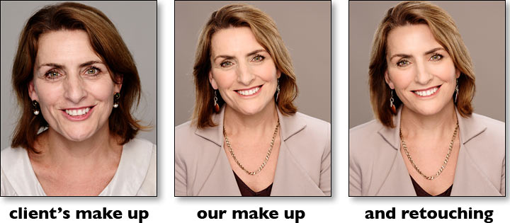make up and retouching comparison